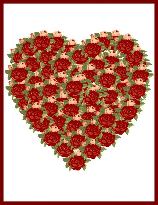 Red Rose Valentine Heart at sewlicioushomedecor.com