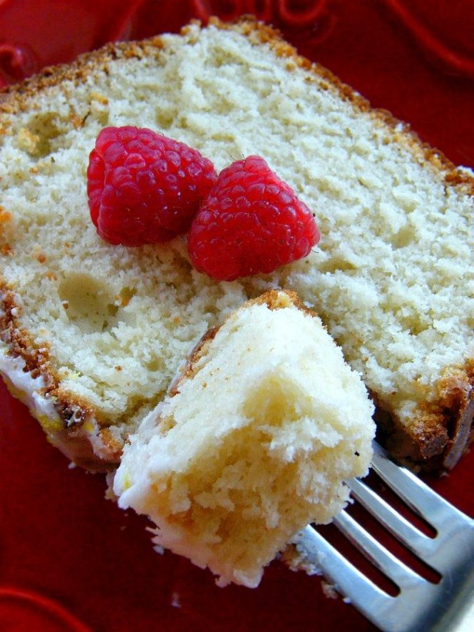 Lemon Raspberry Pound Cake with Lemon Greek Yogurt. The yogurt makes it so moist and light. sewlicioushomedecor