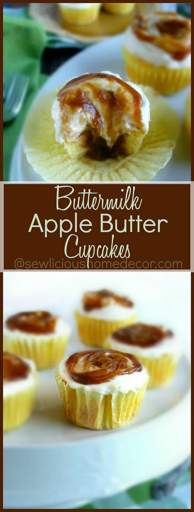 Best Homemade Apple Butter Jam Buttermilk Cupcakes with Fluffly Cream Cheese Frosting sewlicioushomedecor.com