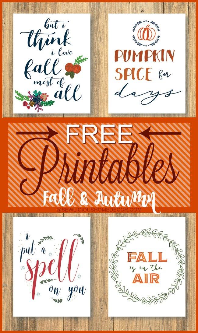 Free Fall printables. sewlicioushomedecor.com