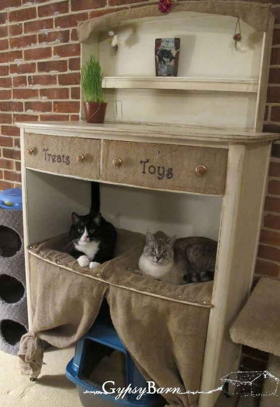 old dresser cat bed