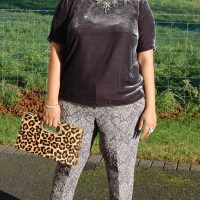 Butterick 6157 and Simplicity 1167: DIY Silk Velvet Tee and Jacquard Pants Trousers