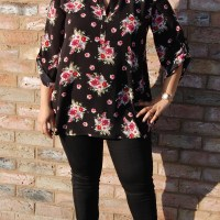 New Look 6374: DIY Dark Floral Tunic Top