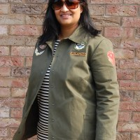Pauline Alice Tello Jacket: DIY Utility Military Khaki Jacket with Patches