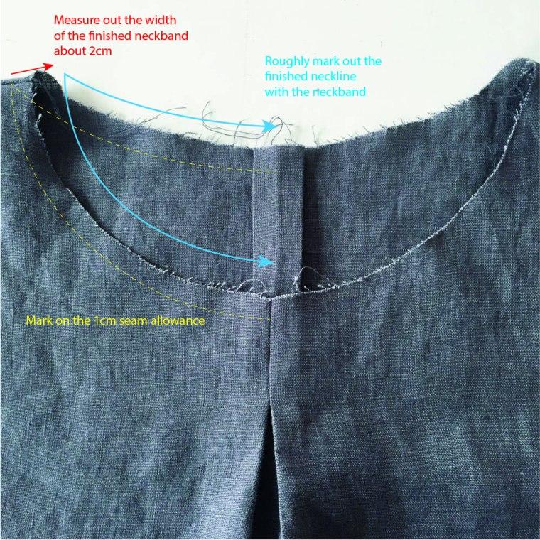 woven T hack neckband marking