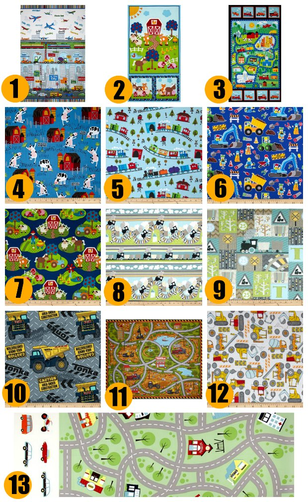 Awesome kinds fabrics. Roads, trains and railways, construction and farm fabrics. Perfect for making playmats and stuff for kids rooms. Love the panels!