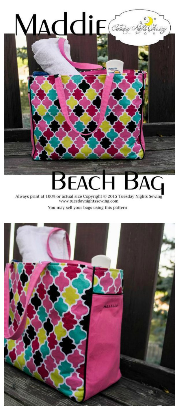 Maddie beach bag free sew modern bags free sewing pattern for this large and roomy beach tote bag has zipper pocket jeuxipadfo Gallery