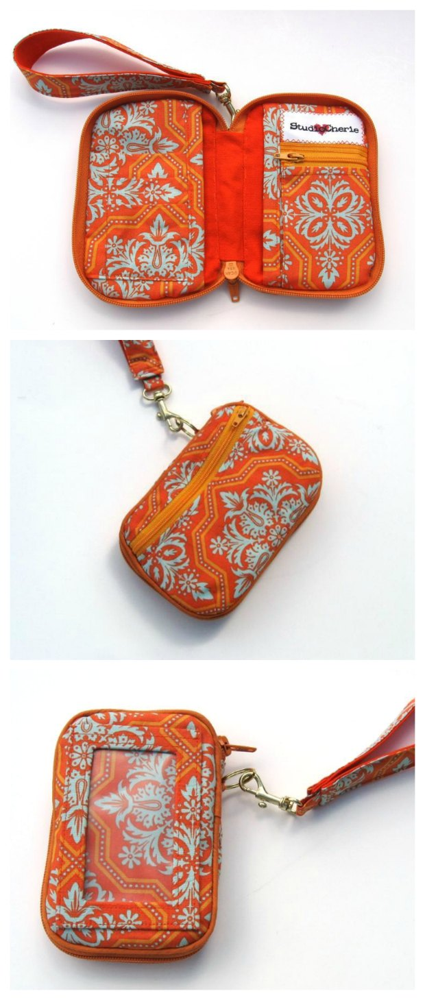 This wallet sewing pattern is a winner! Compact but still room enough for my phone, cards, cash, ID etc. Not for beginners but well worth the effort to sew this wristlet wallet pattern.