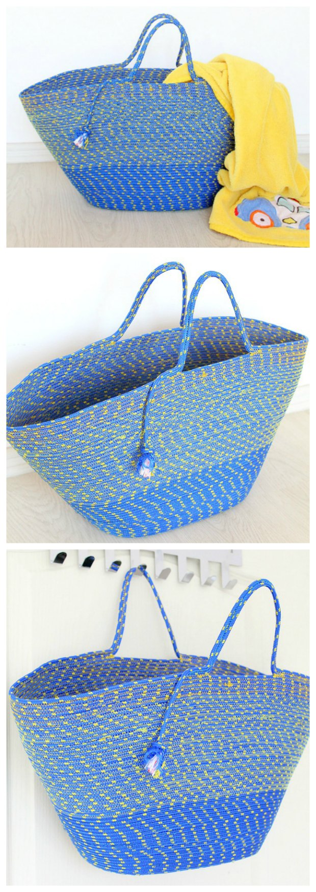 I couldn't believe it when I saw how this bag was made - just from a piece of rope! It's ingenious. Makes great beach and grocery bags. I'm making one for my mom too.
