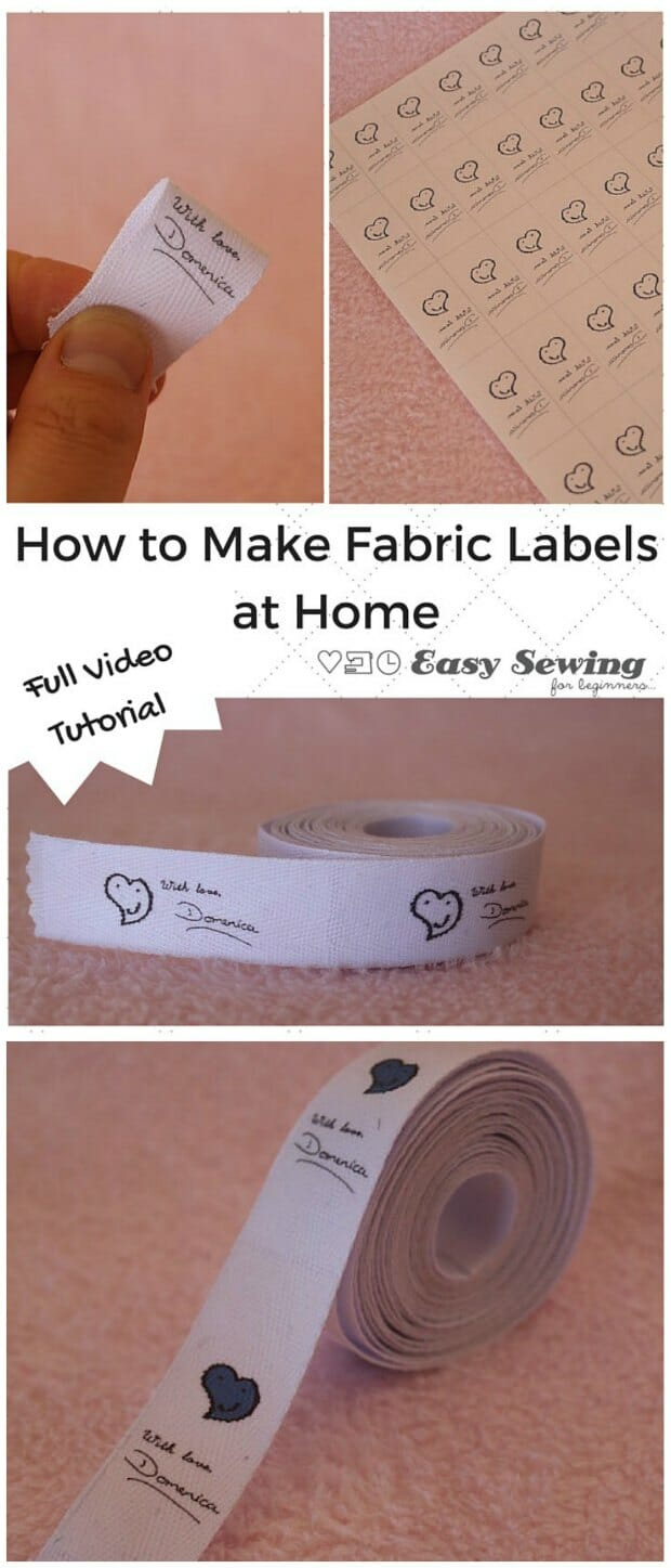 How to make your own custom labels at home using transfer paper, your printer, an iron and twill tape. Makes create labels to add to your own bags and clothing projects. With video tutorial too.