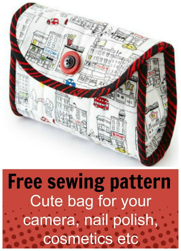 Free sewing pattern. Great little bag to use as a camera case, but I'm making one with a piece of elastic inside separated into sections to hold nail polish when I travel - perfect!