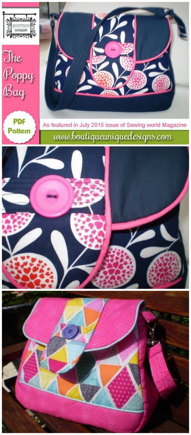 Poppy Bag pattern. Love this cute purse. The shape and the way the piping accents show off the panels really work for me.