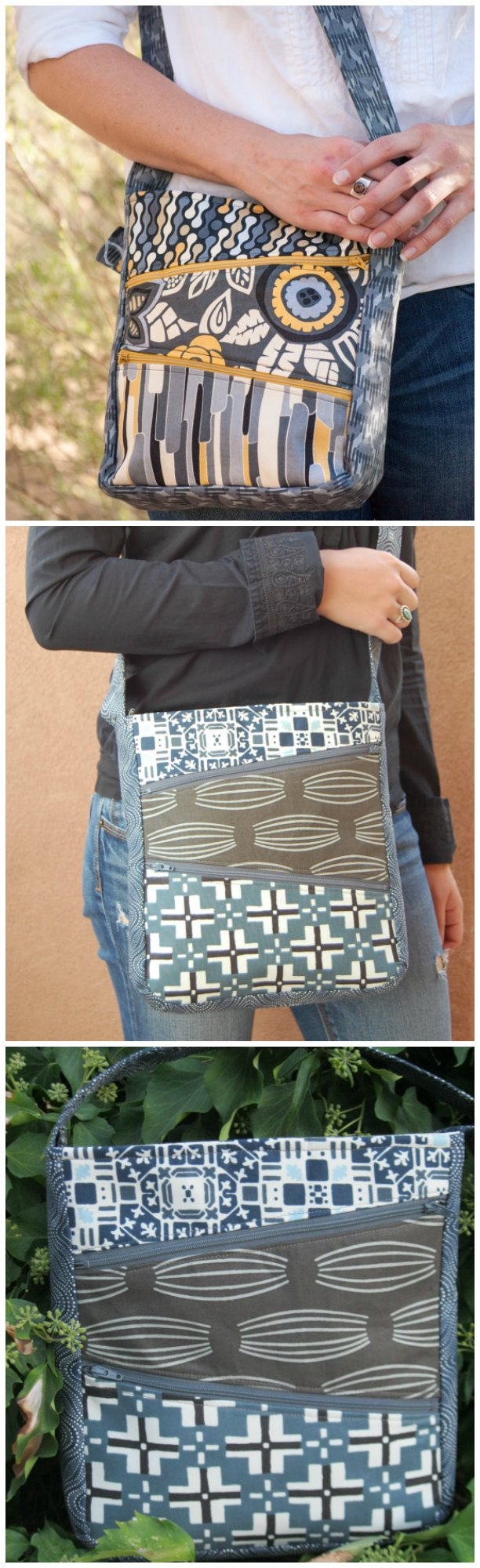 Great bag sewing pattern.  Sometimes you just can't have too many pockets when you need to stay organised.  One of my favorite daytime bags to sew.