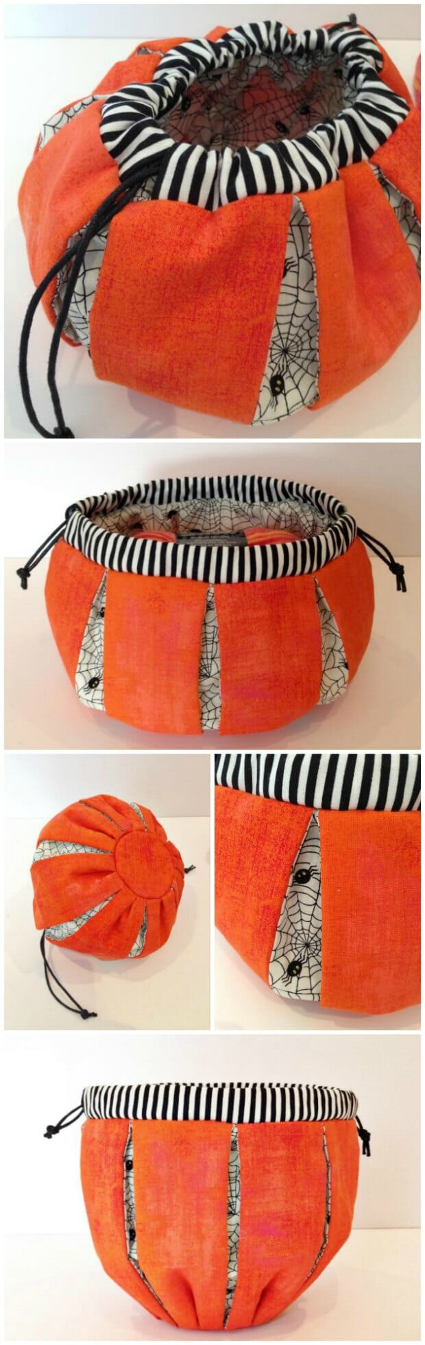 Sewing pattern for a drawstring Halloween Pumpkin treat bag. My grandkids are going to love these, but with other fabrics, these would make good gift bags too. Christmas is coming!