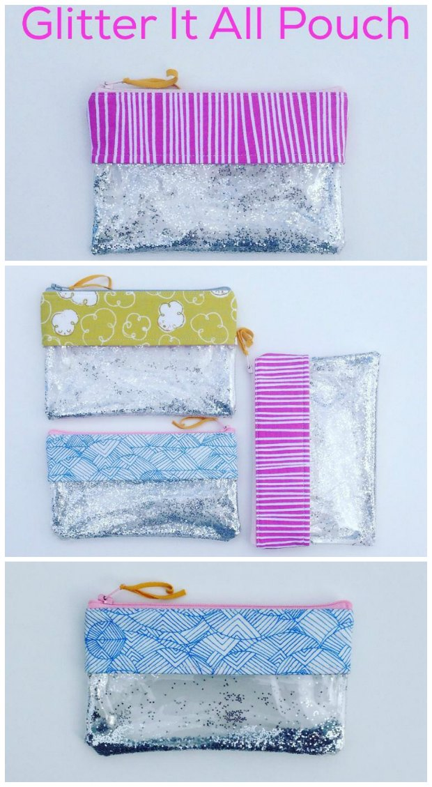 Sew your own glamorous glitter pouch. Silver is fun, but gold can be glamorous. Or use pastels for a wedding? Holiday colors? Love this glitter bag idea.
