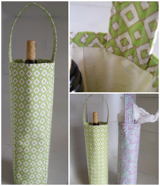 How to sew your own bottle bag. Once the bottle and the bag are empty, these make great bags for storing all your plastic carrier bags too.