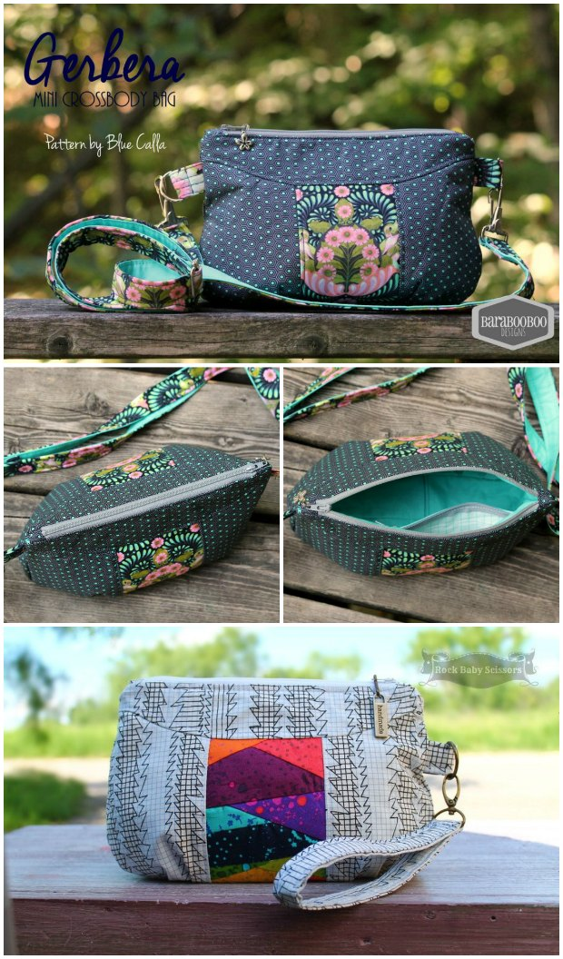 Free sewing pattern.  Wristlet bag, clutch bag or small shoulder bag.  Instructions provided for all options.