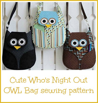 Owl bag sewing pattern. Such as awesome design and a hoot to sew. My kids love these owl bags.