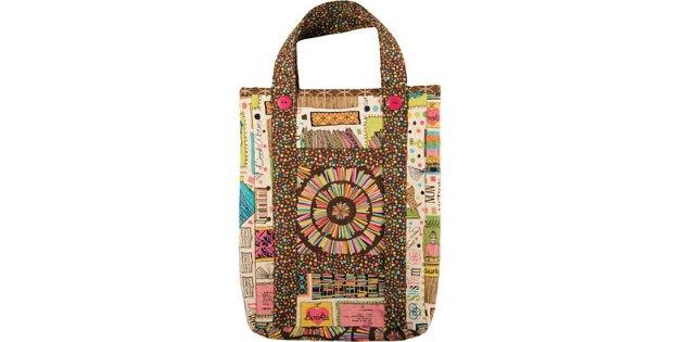 Vintage book bag - easy tote bag sewing pattern - Sew Modern Bags