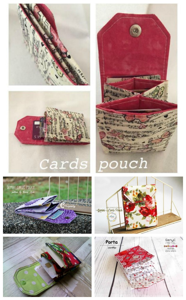 Gemini Cards Pouch pdf downloadable sewing pattern. This is a little pouch for cards. It's a perfect beginner tutorial for anyone starting out in sewing.
