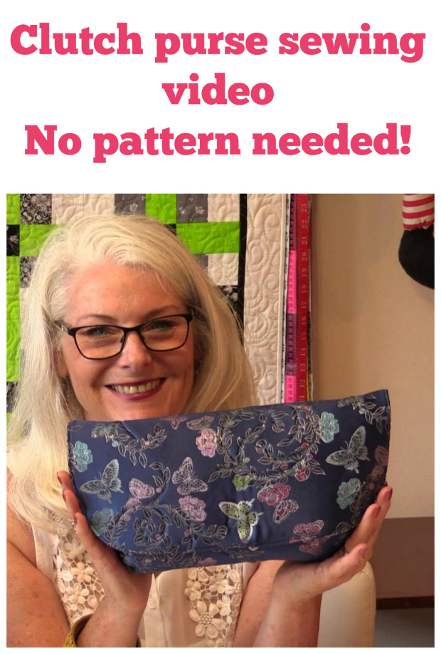Free clutch bag sewing pattern and video tutorial.  This one is so easy you don't even need a pattern, just cut the pieces according to the measurements