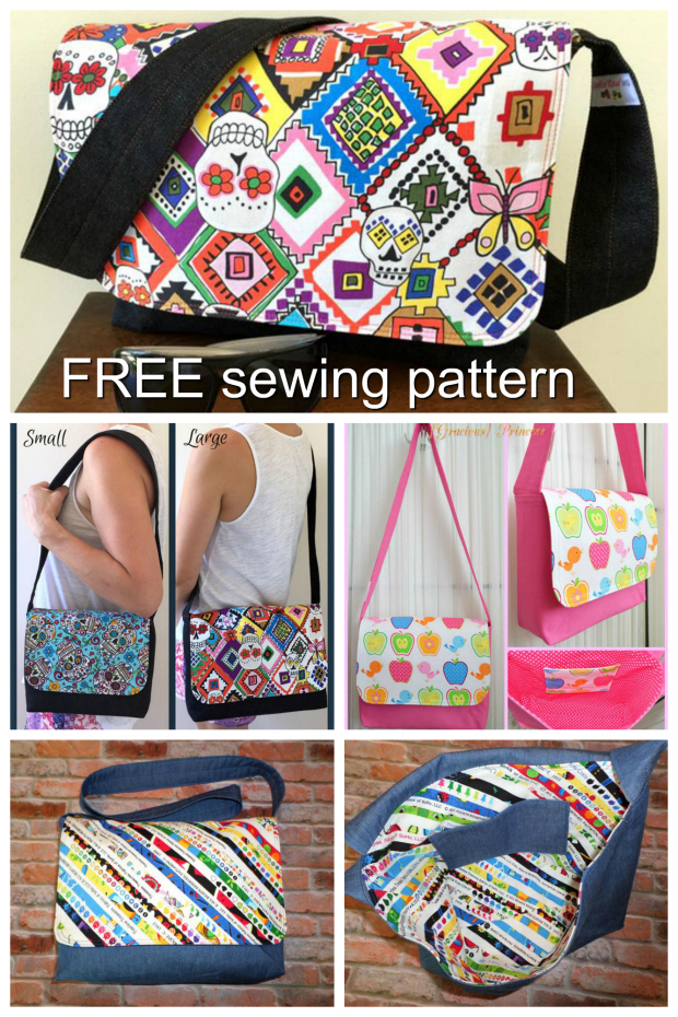 FREE Good-To-Go Messenger Bag sewing pattern. This bag comes in two sizes - small and large - enabling you to create quick and easy cross body bags for both adults and children alike.