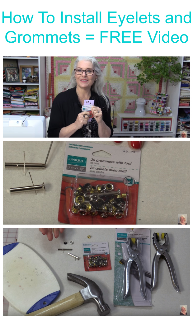 Watch this FREE video and see how you can install Eyelets and Grommets on your various sewing projects.