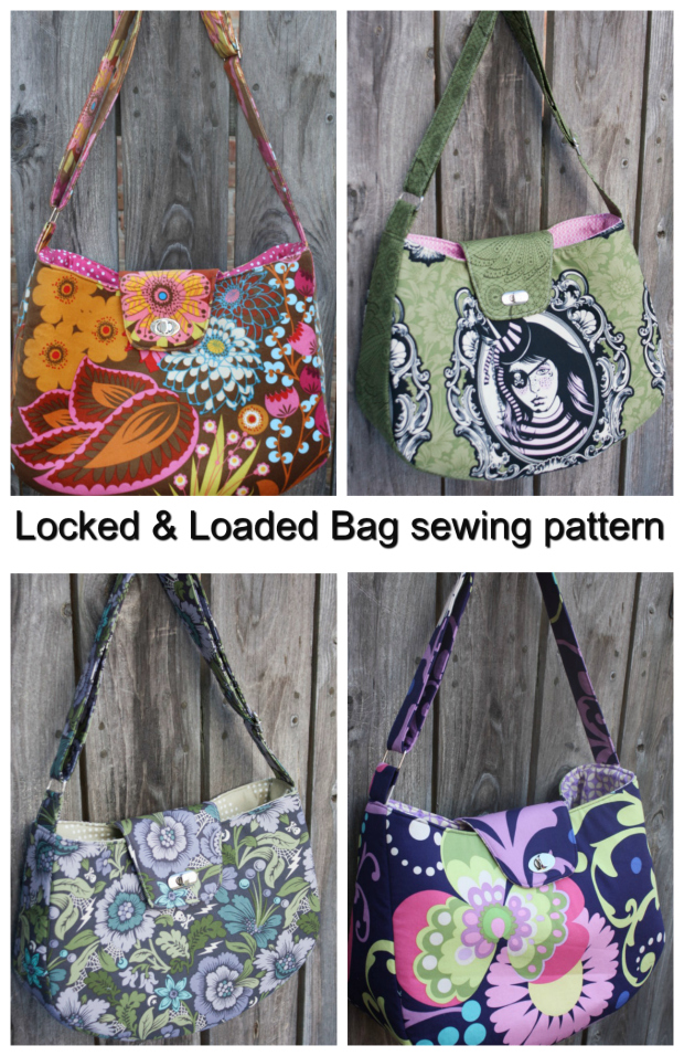 Today we would like to introduce you to The Locked And Loaded bag sewing pattern from Sew Sweetness. This lovely bag is round and large enough for all of your essentials!. The bag features an adjustable strap, inner zippered pocket, and the icing on the cake is the metal twist lock, which is easy to insert with a little dab of fabric glue. You'll just love the functionality of it.