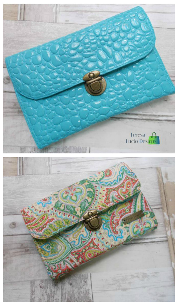 The Amethyst Wallet sewing pattern. The Amethyst Wallet is both very cute and very practical. It has so many pockets for just about everything: Phone, cards, checkbook, receipts and a zippered pocket.