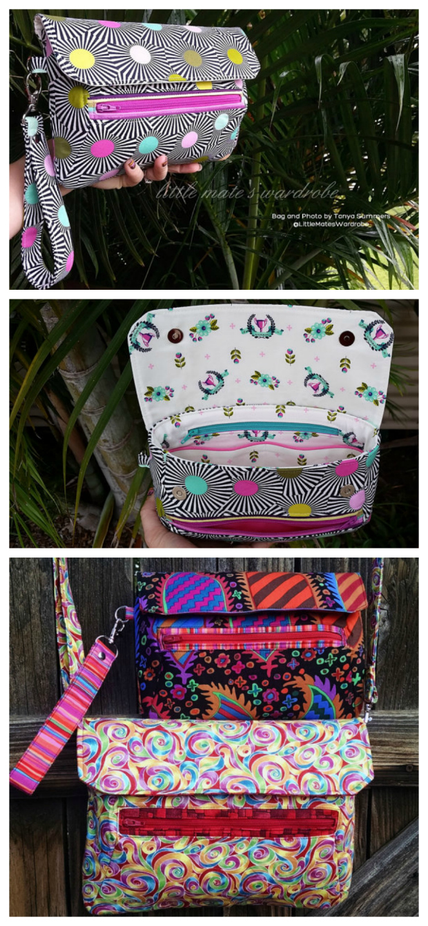 Here's a sewing pattern for this very stylish modern bag The Zelie Clutch. It has masses of room for all of your essentials and is wonderfully comfortable to carry with or without the optional strap. The pattern allows you to include both a detachable shoulder strap and a wristlet strap option to allow for hands-free carrying.