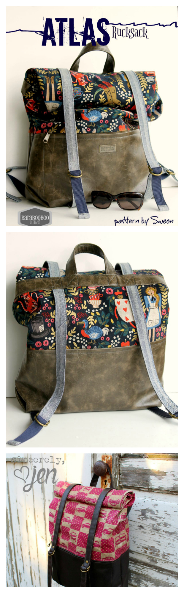 If you want to make a rucksack (backpack) then the PDF downloadable sewing pattern for The Atlas Rucksack is the one to chose. This unisex design can be made in any style you prefer. It features adjustable backpack straps and front closure straps, as well as a large front zippered pocket and top carrying/hanging handle. And the end result is a rucksack that is wonderfully comfortable as well as expandable and fully adjustable.