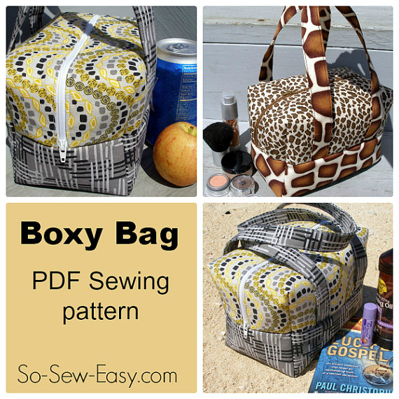 """If you want to make a Boxy Bag that has dozens of uses then here is a PDF downloadable bag pattern and instructions. The bag which measures 7.5"""" long by 4.5"""" wide by 5.0"""" (plus straps) high, is perfect to use as a bag to carry your lunch, cosmetics, toiletries, camera or to travel with or take to the beach."""