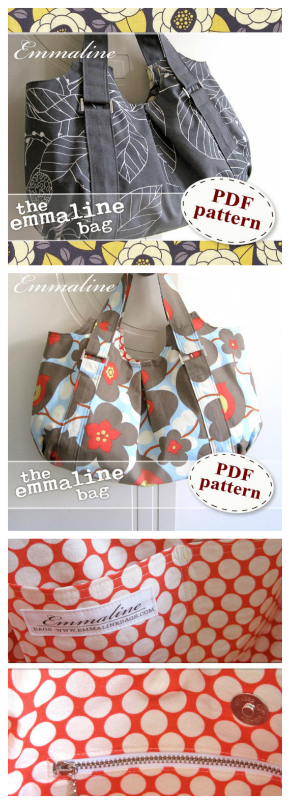You can make the Emmaline Bag with the extremely comprehensive PDF downloadable pattern. This stylish handbag is extremely practical, modern, classy and very spacious. You can carry all of your essentials and keep your keys, phone or wallet tucked away in one of the 3 optional inside pockets.