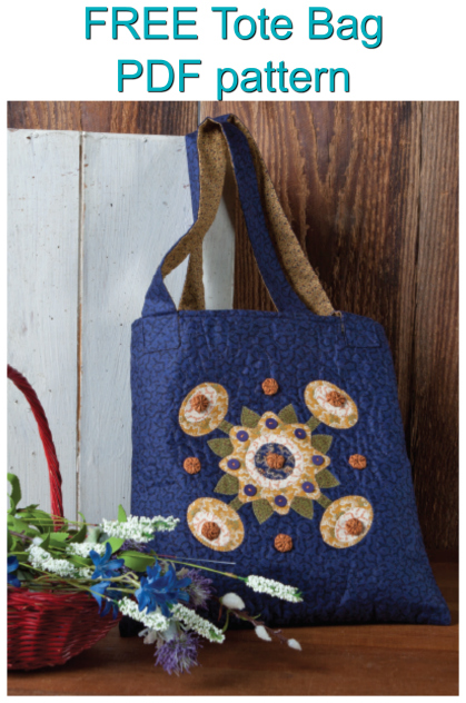 """Here is a great FREE pattern on how to make this useful and stylish Tote Bag.And the applique design really makes this bag stand out amongst the rest. This Tote Bag measures 14"""" by 15"""" and is perfect for carrying your everyday needs in style."""