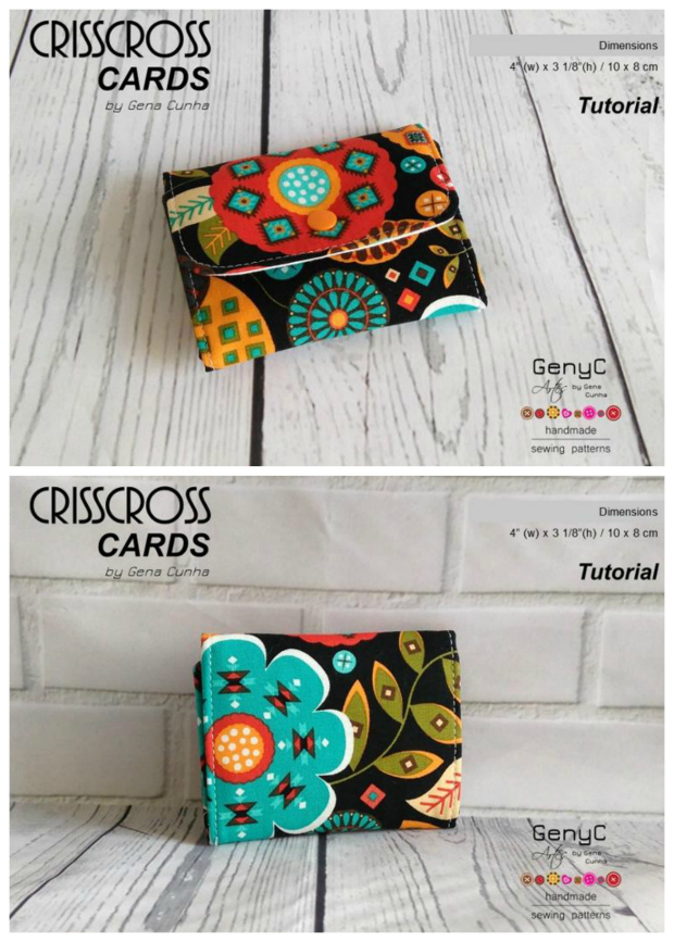 If you have only got time for a quick sew then this project will be ideal for you. The Crisscross Cards Pouch is a very simple small pouch with 2 card slots. If you click below you will be able to download the FREE tutorial and basic pattern.