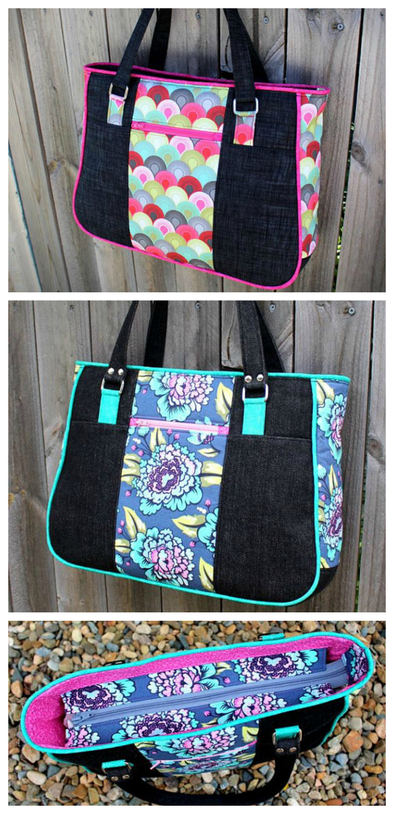 Here's the Goin' Uptown Tote Bag which you can make if you download the PDF sewing pattern. The Goin' Uptown Tote features lots and lots of zippers. It has an outer zipper pocket on both the front and back, giving you quick and easy access to frequently used items such as your mobile phone and keys. It also has a recessed zipper at the top of the bag to close and an inner zipper pocket also for added storage.