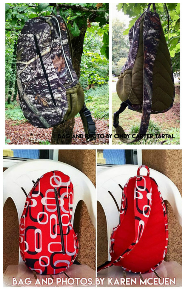 The Teardrop Sport is a sporty lightweight crossbody backpack / sling bag which is durable and most of all extremely comfortable to carry. It has been designed for guys but is equally handy for the girl on the go. The pdf downloadable pattern incorporates a new and more simple construction method, which means the Teardrop Sport is easy to assemble.