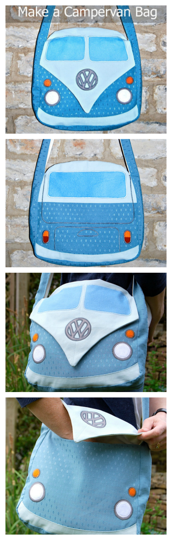 """If you want to make a really fun bag for yourself, family or friends then you can get this downloadable pdf pattern here. This sewing pattern allows you to make this very unique bag based on the Splitscreen Campervan. This bag will have you standing out from the crowd and will get you many admirers. The finished bag measures approximately 12"""" by 12"""" with a strap long enough to cross over your body. The bag also has a handy pocket inside to help you keep all your essentials organised."""