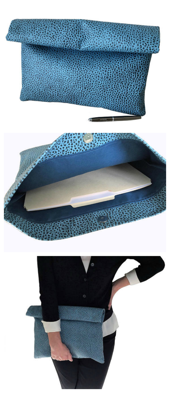 Here's a pdf pattern for a Fold Over Clutch Bag that is both a simple classic design and easy to sew. You get to decide on how to carry this bag by either folding it over or rolling it down. The clutch is fully lined and a main magnetic snap closure keeps items inside. The small bag is designed with two interior slip pockets while the large bag has four. You can dress it up or down depending on the materials you use to make it. Fabric or vegan leather both work great. And due to the bag design, if you chose vegan leather you do not need any special sewing machine needle, foot attachment or thread.