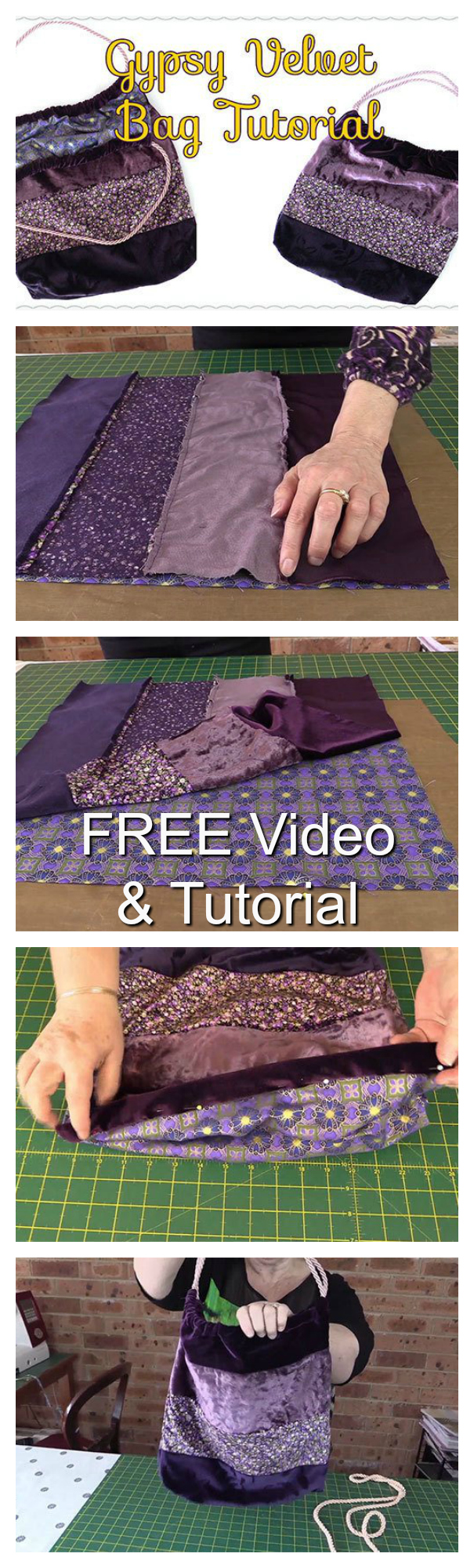 Here's a really comprehensive FREE video and tutorial showing you how to make a Velvet Gypsy Tote Bag. This bag was actually made from recycled velvet - old velvet skirts and tops - that made the project both eco-friendly and economical as well.