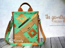 """Here's a great school bag called """"The Geometry"""" that is simple, practical and yet highly functional. The Geometry is absolutely perfect for school and college students or young and active people. The downloadable pattern for this school crossbody bag comes in two sizes and also the wearer can either use the adjustable strap or a shorter handle is provided for those who prefer to carry the bag by hand. The Geometry Bag is also a unisex bag if you make distinct versions with different colored fabrics. The size is just right to carry books, small electronic gadgets or personal things and the sharp geometric design makes it a cool bag to wear."""