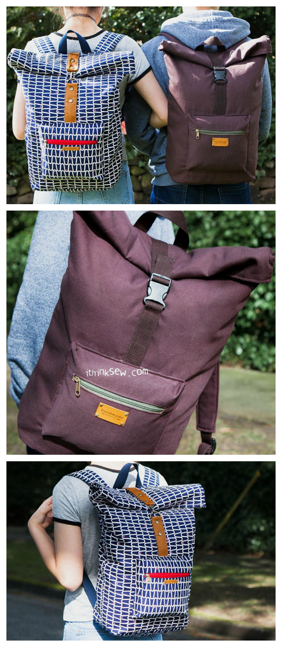 """The Roxanne Rolltop Backpack is an awesome backpack that was created for men, women and children. It's a unisex bag that is specially designed for students and travellers. The pocket space is so big and organised that you can easily pack the bag with all your school essentials like laptops, books and more. The approximate size of the finished backpack is 14"""" wide by 16"""" high by 7"""" deep."""