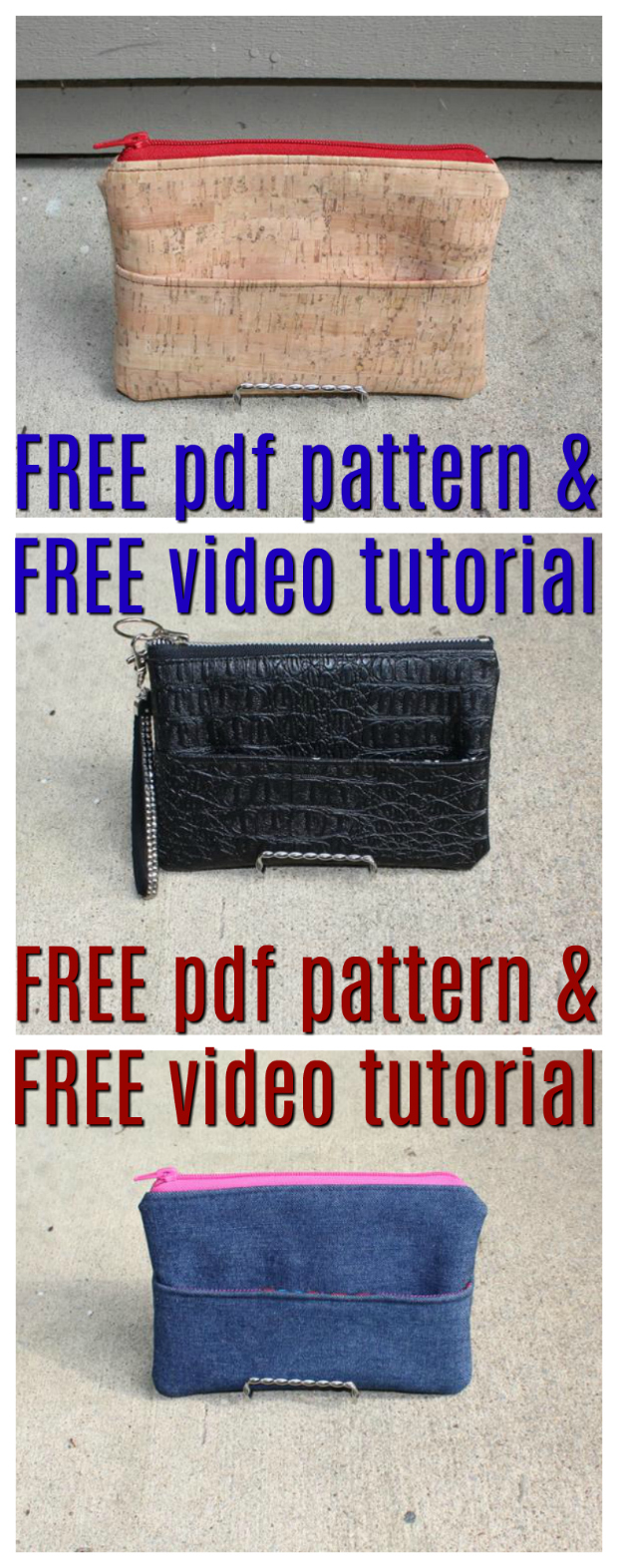 Here is another FREE pdf pattern for a great little Zipper Pouch named the Erin Pouch, however, with this one you also get a FREE step by step video tutorial. This pattern features a front pocket with a magnetic snap closure and a top zipper. And the design of this pattern allows the beginner sewer to make the Erin Pouch out of a number of different fabrics such as cotton cloth, leather, vinyl, cork or denim.
