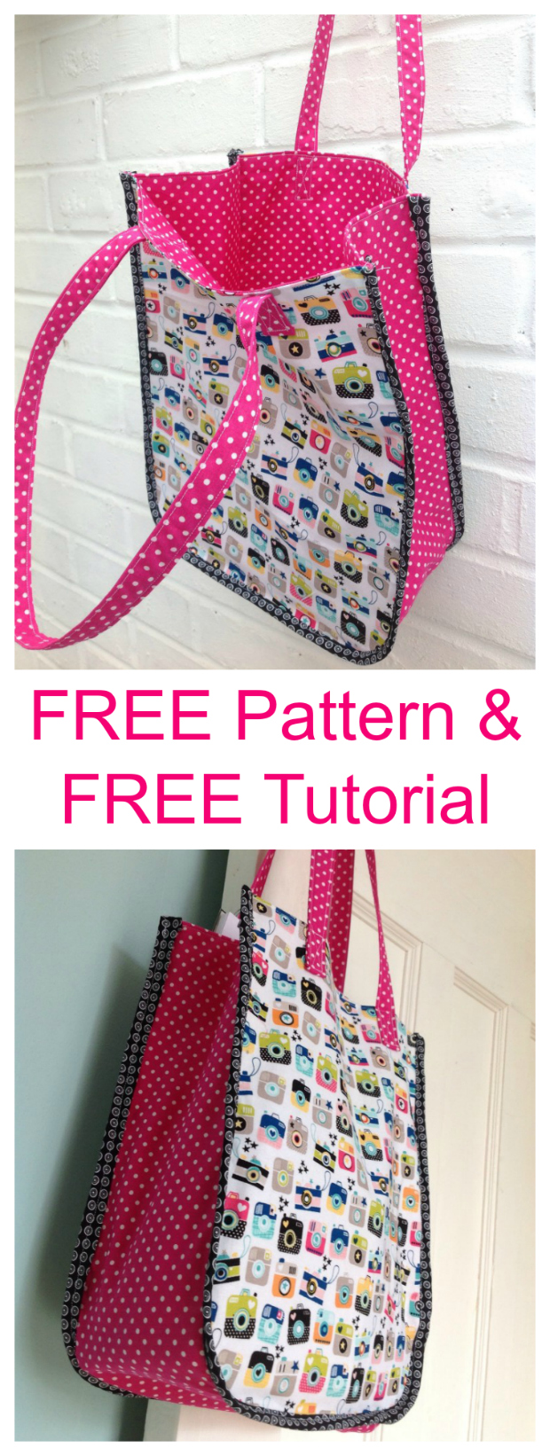 SewModernBags loves to bring you FREE patterns and FREE tutorials and here is an awesome one. The Instamatic Tote Bag gets its name obviously from the cute fabric that was used. This is both an easy to sew Tote Bag and is the perfect size for you.