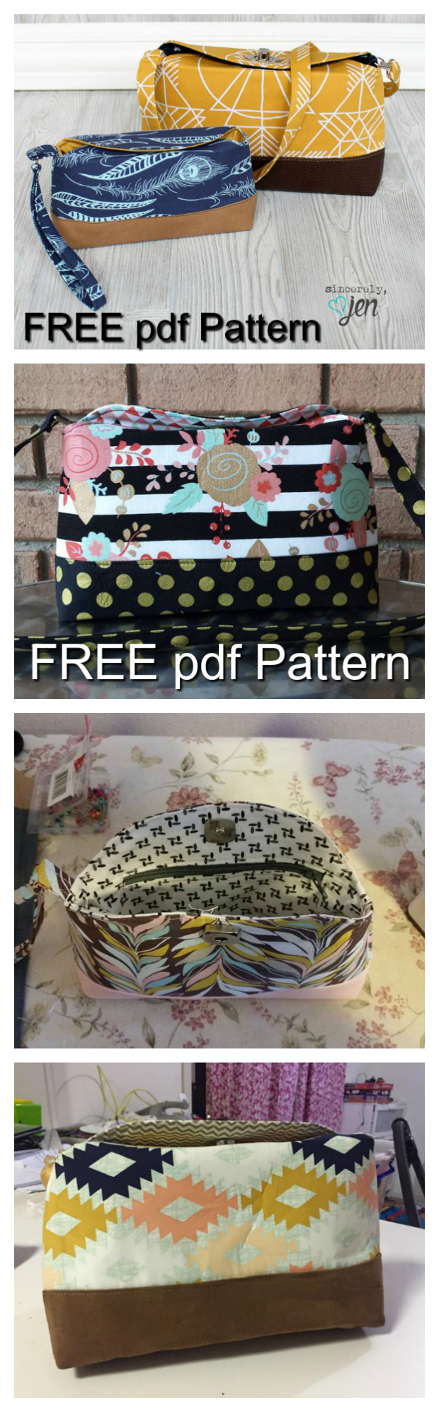 One of the best and most popular bag designers brings you a FREE pdf pattern for a Clutch AND Wristlet bag called Marianne. Marianne is an essential bag for a night out on the town - dress it up or go casual. The Large Clutch option features a turn lock closure and removable hidden strap. The Mini Wristlet includes a wristlet strap and magnetic snap closure. A zippered pocket inside keeps the small things secure.