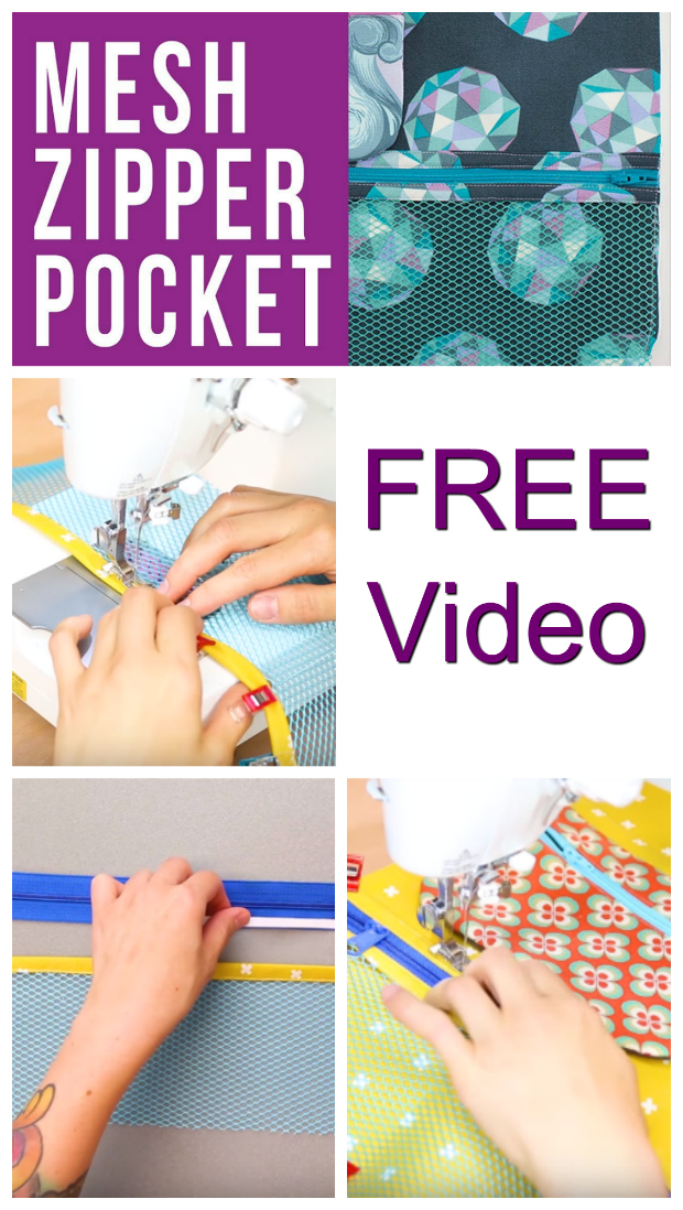 If you want a mesh zipper pocket on one of your bags then we have found you this awesome FREE video. This 13-minute video takes you through each of the steps necessary so that you have the skills to add a mesh zipper pocket to any of your bag projects.