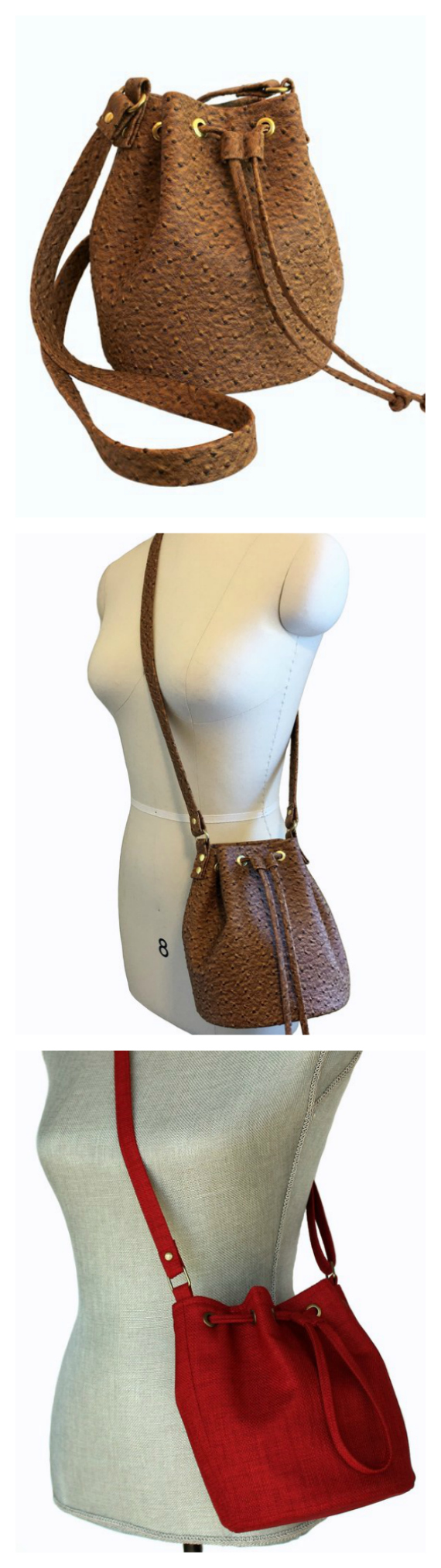 The chic size Mini Bucket Bag has the following features: 1. Big enough to hold essentials but smaller than the average size bucket bag pattern 2. Fully lined 3. An interior zippered pocket 4. A firm bag bottom allows this purse to stand on its own 5. Completely interfaced 6. Drawstring closure and slider with grommets makes it easy to open and close.