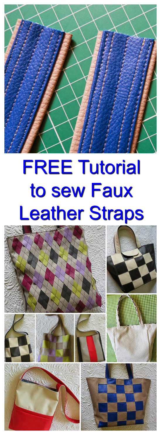 It's great to sew your own faux leather bag handles and now we have a FREE tutorial where you can learn all about it. Usually, you need a special foot to stitch faux leather but your walking foot can work fine. When topstitching, you have to help a little of the material to move under the needle. And it is best to stitch with longer stitches than usual. It's a good idea to set your machine at 3. You may not get perfect stitches every time, but usually, they look good.