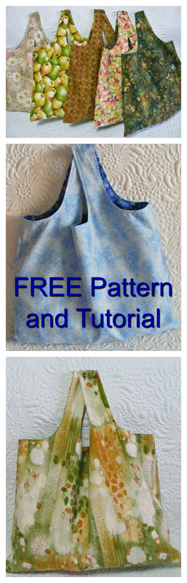 Here is a quick and easy project for a beginner sewer. You can make the Reversible Shopping Bag using the FREE pattern and tutorial. These bags are much stronger than the plastic bags you are given at the supermarkets and by using these bags you get to do your little bit towards saving the planet.