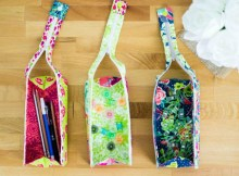 Here's a lovely project for you to work on that comes with a FREE pattern, as well as a FREE tutorial. You can make this children's Pen Case that they can take to school or use at home to keep all their pens and pencils in one place. When the Zola Pen Case is unzipped, it opens all the way so you can see all the contents. When it is zipped up it makes a cute little rectangular box. The end of the zipper snaps to the bottom of the case to make the handle.